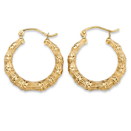 Bamboo-Style Textured Hoop Earrings in 10k Yellow Gold (5/8