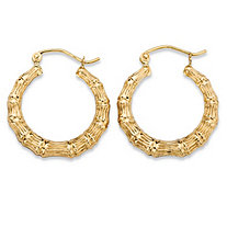 "Bamboo-Style Textured Hoop Earrings in 10k Yellow Gold (5/8"")"