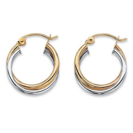 Polished Twisted Hoop Earrings in Two-Tone 10k Yellow and 10k White Gold (5/8
