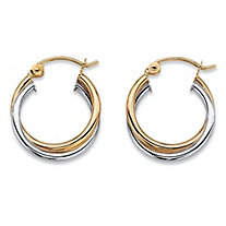 "Polished Twisted Hoop Earrings in Two-Tone 10k Yellow and 10k White Gold (5/8"")"