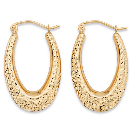 "Diamond-Cut Textured Oval Hoop Earrings in 10k Yellow Gold (11/16"") at PalmBeach Jewelry"