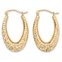 "Diamond-Cut Textured Oval Hoop Earrings in 10k Yellow Gold (11/16"")"