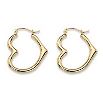 "Polished Open Heart-Shaped Tubular Hoop Earrings in 10k Yellow Gold (7/8"")"