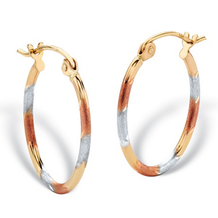 Diamond-Cut Oval Hoop Earrings in Tri-Tone Yellow, White and Rose 14k Gold (5/8