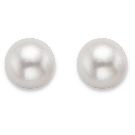 Genuine White Cultured Freshwater Pearl Stud Earrings in 14k Yellow Gold (5mm) at PalmBeach Jewelry