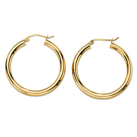 Polished  Tubular Hoop Earrings in 10k Yellow Gold (1 1/4