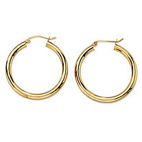 "Polished Tubular Hoop Earrings in 10k Yellow Gold (1 1/4"")"