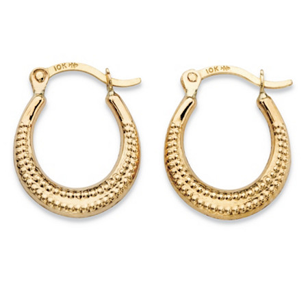 "Textured 10k Yellow Gold Hoop Earrings in 10k Yellow Gold (1/2"") at PalmBeach Jewelry"