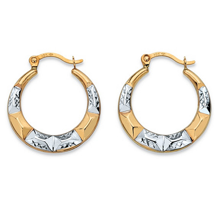Diamond-Cut Hoop Earrings in Two-Tone 10k Yellow Gold and 10k White Gold (3/4