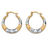 "Diamond-Cut Hoop Earrings in Two-Tone 10k Yellow Gold and 10k White Gold (3/4"")"