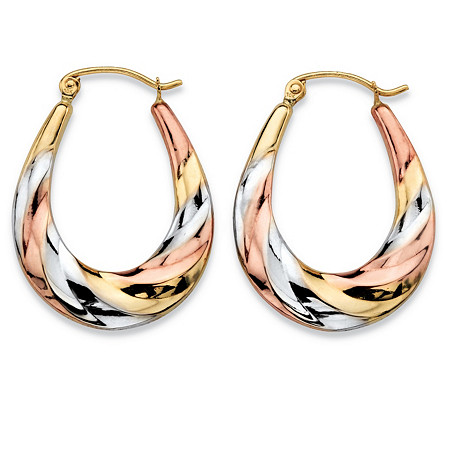 "Diamond-Cut Oval Twisted Hoop Earrings in Tri-Tone Yellow, Rose and White 10k Gold (3/4"") at PalmBeach Jewelry"