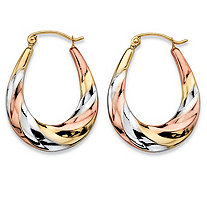 "Diamond-Cut Oval Twisted Hoop Earrings in Tri-Tone Yellow, Rose and White 10k Gold (3/4"")"