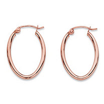 "Oval Polished Tubular Hoop Earrings in 14k Rose Gold (3/4"")"