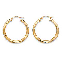 "Diamond-Cut Tubular Hoop Earrings in 10k Yellow Gold (7/8"")"