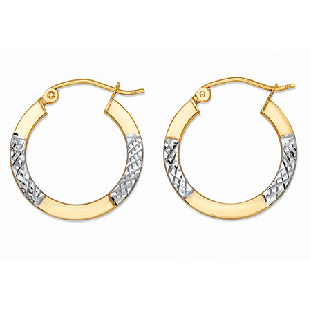 Diamond-Cut Tubular Hoop Earrings in Two-Tone 10k Yellow Gold and 10k White Gold (7/8