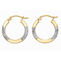 "Diamond-Cut Tubular Hoop Earrings in Two-Tone 10k Yellow Gold and 10k White Gold (7/8"")"