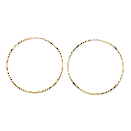 """Polished Eternity Hoop Earrings in 10k Yellow Gold (2"""") at PalmBeach Jewelry"""