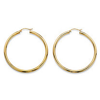 "Polished Tubular Hoop Earrings in 10k Yellow Gold (1 3/4"")"