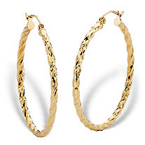 "Diamond-Cut Twisted Hoop Earrings in 10k Yellow Gold (1 3/8"")"
