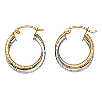 "Hammered Twisted Hoop Earrings in Two-Tone 10k Yellow and 10k White Gold (5/8"")"