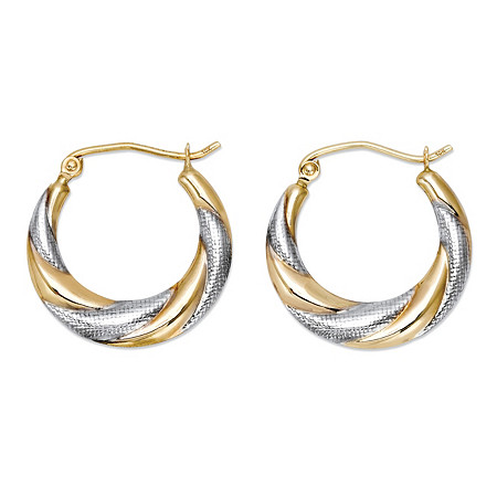 Hammered Two-Tone Hoop Earrings in 10k Yellow Gold and 10k White Gold (3/4