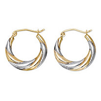 "Hammered Two-Tone Hoop Earrings in 10k Yellow Gold and 10k White Gold (3/4"")"