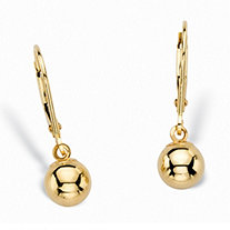 "Polished Ball Lever Back Drop Earrings in 14k Yellow Gold 7/8"" (6mm)"