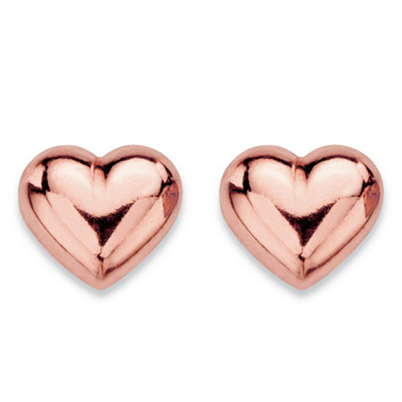 Puffed Heart Polished Stud Earrings in 14k Rose Gold (7mm) at PalmBeach Jewelry