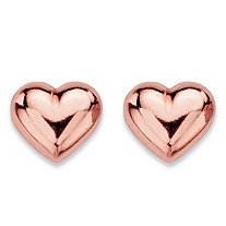 Puffed Heart Polished Stud Earrings in 14k Rose Gold (7mm)