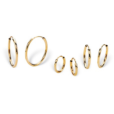 "Polished 3-Pair Set of Endless Eternity Hoop Earrings in 14k Yellow Gold (5/8"" 1/2"" 3/8"") at PalmBeach Jewelry"