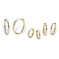 "Polished 3-Pair Set of Endless Eternity Hoop Earrings in 14k Yellow Gold (5/8"" 1/2"" 3/8"")"