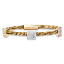 Pave Crystal Grid Triple Station Tri-Tone Grey, Rose and Gold Ion-Plated Stainless Steel Rope Bangle Bracelet with Magnetic Closure 8""
