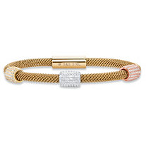 Pave Crystal Bead Triple Station Tri-Tone Grey, Rose and Gold Ion-Plated Stainless Steel Cable Bracelet with Magnetic Closure 8""