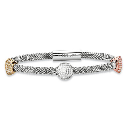"Pave Crystal Round Triple Station Tri-Tone Grey, Rose and Gold Ion-Plated Stainless Steel Cable Bangle Bracelet with Magnetic Closure 8"" at PalmBeach Jewelry"