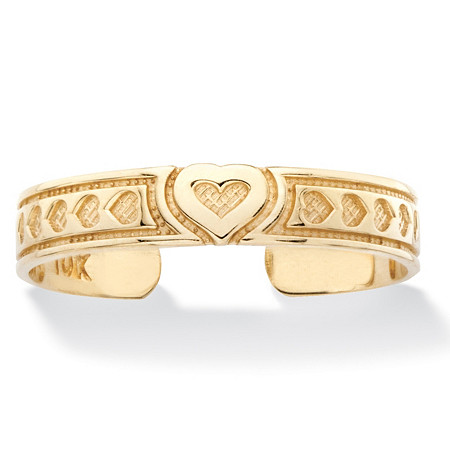 Textured Heart Adjustable Toe Ring in Solid 10k Yellow Gold (3mm) at PalmBeach Jewelry