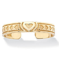 Textured Heart Adjustable Toe Ring in Solid 10k Yellow Gold (3mm)