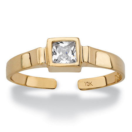 Princess-Cut White Cubic Zirconia Accent Bezel-Set Adjustable Toe Ring in Solid 10k Yellow Gold (5mm) at PalmBeach Jewelry