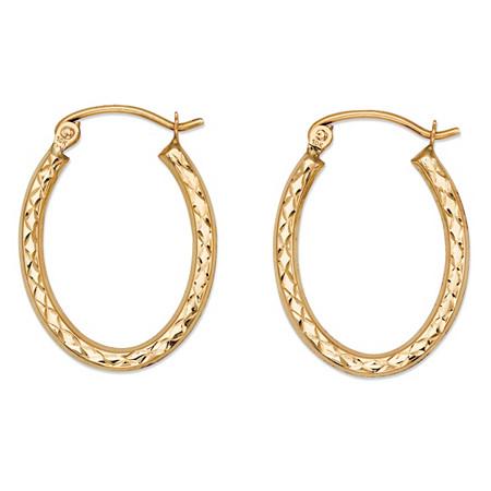 Diamond-Cut Oval Hoop Earrings in 10k Yellow Gold 11/16