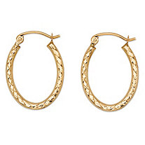 Diamond-Cut Oval Hoop Earrings in 10k Yellow Gold 11/16""