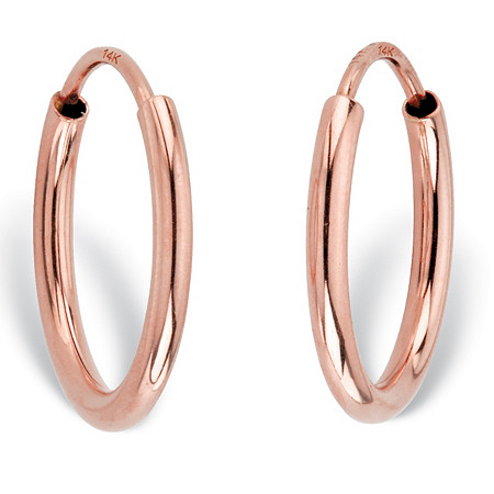 Polished Eternity Tubular Hoop Earrings in 14k Rose Gold (1/2