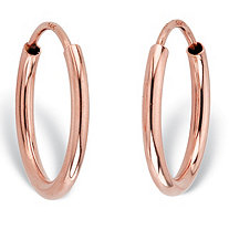 "Polished Eternity Tubular Hoop Earrings in 14k Rose Gold (1/2"")"