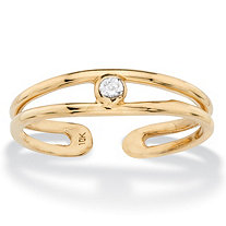 Round White Bezel-Set Crystal Accent Adjustable Toe Ring in 10k Yellow Gold (2mm)