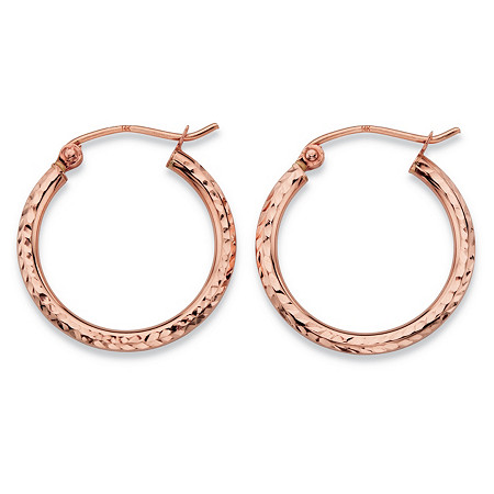 Diamond-Cut Tubular Hoop Earrings in 14k Rose Gold 3/4