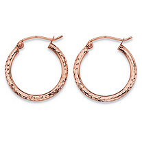 Diamond-Cut Tubular Hoop Earrings in 14k Rose Gold 3/4""