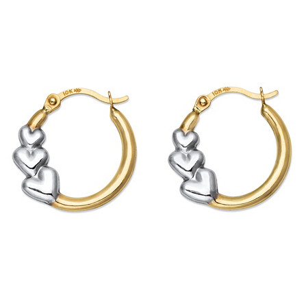 Polished Two-Tone Triple Heart Hoop Earrings in 10k Yellow and 10k White Gold 5/8