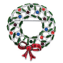 Multicolor Crystal Holiday Christmas Wreath Brooch Pin in Silvertone 2""