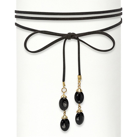 "Oval Black Beaded Gold Tone Wraparound Black Suede Choker Necklace 60"" at PalmBeach Jewelry"