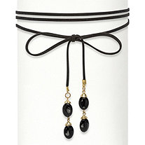 SETA JEWELRY Oval Black Beaded Gold Tone Wraparound Black Suede Choker Necklace 60