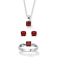 Princess-Cut Birthstone 3-Piece Pendant Necklace, Stud Earrings And Ring Set In Sterling Silver only $18.99