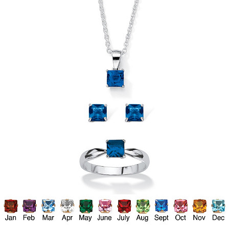 Princess-Cut Birthstone 3-Piece Pendant Necklace, Stud Earrings and Ring Set in Sterling Silver 18